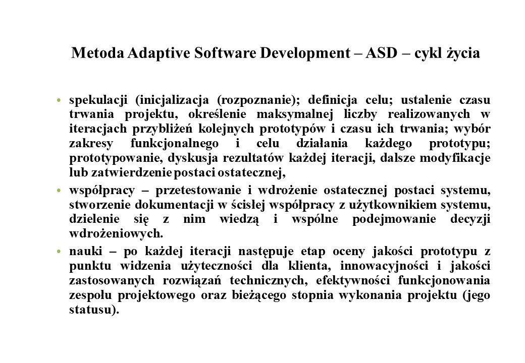 Metoda Adaptive Software Development – ASD – cykl życia spekulacji (inicjalizacja (rozpoznanie); definicja celu; ustalenie czasu trwania projektu, okr