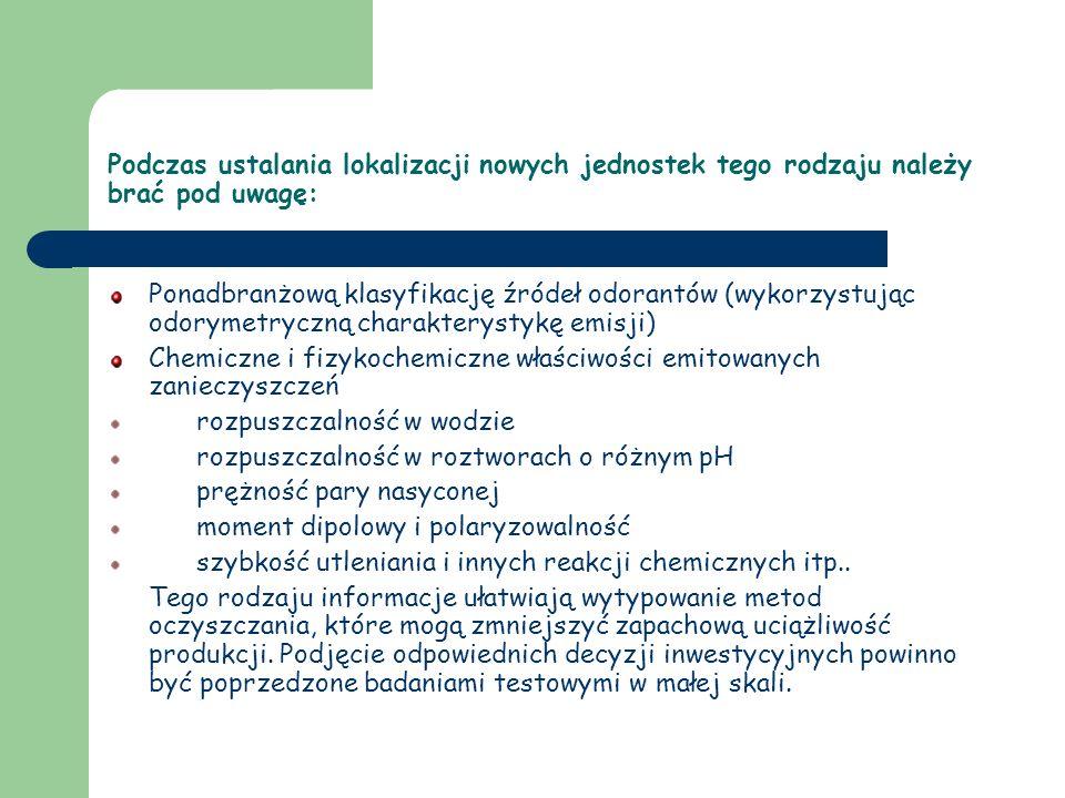 Podczas ustalania lokalizacji nowych jednostek tego rodzaju należy brać pod uwagę: Ponadbranżową klasyfikację źródeł odorantów (wykorzystując odorymet