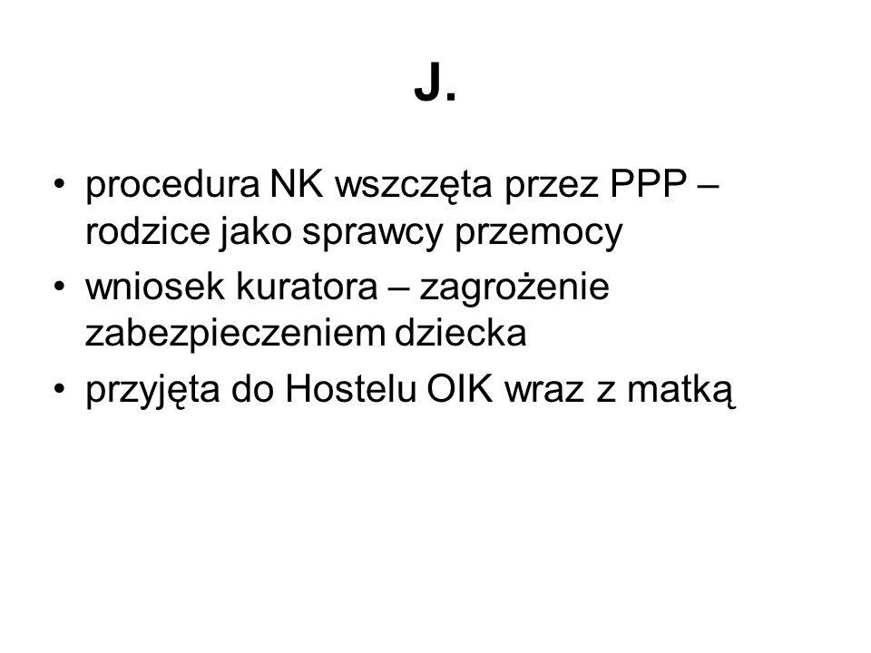 J. procedura NK wszczęta przez PPP – rodzice jako sprawcy przemocy wniosek kuratora – zagrożenie zabezpieczeniem dziecka przyjęta do Hostelu OIK wraz