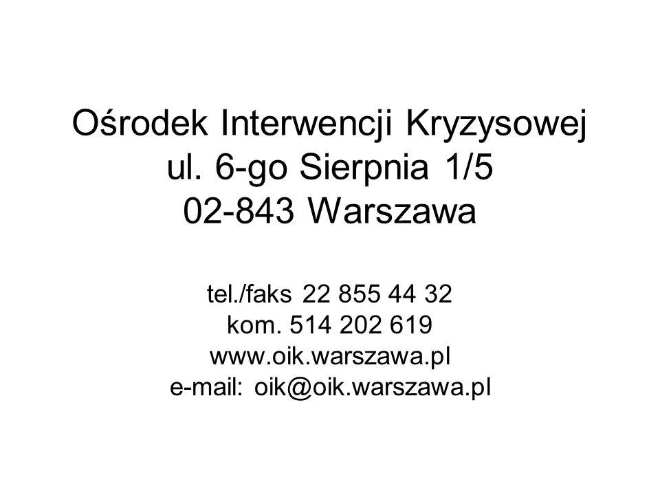 Ośrodek Interwencji Kryzysowej ul. 6-go Sierpnia 1/5 02-843 Warszawa tel./faks 22 855 44 32 kom. 514 202 619 www.oik.warszawa.pl e-mail: oik@oik.warsz