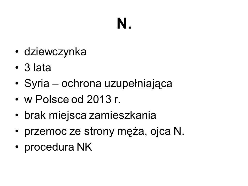 N. dziewczynka 3 lata Syria – ochrona uzupełniająca w Polsce od 2013 r. brak miejsca zamieszkania przemoc ze strony męża, ojca N. procedura NK