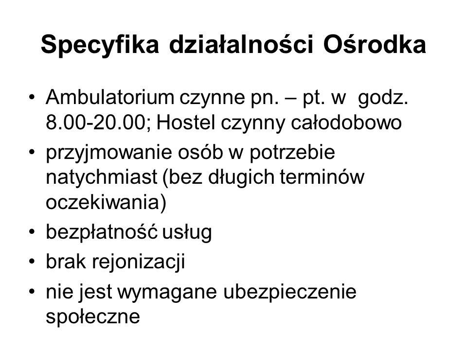 Specyfika działalności Ośrodka Ambulatorium czynne pn. – pt. w godz. 8.00-20.00; Hostel czynny całodobowo przyjmowanie osób w potrzebie natychmiast (b