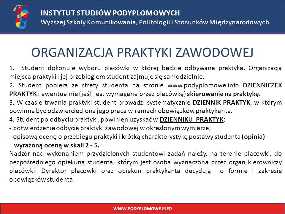 INSTYTUT STUDIÓW PODYPLOMOWYCH Wyższej Szkoły Komunikowania, Politologii i Stosunków Międzynarodowych ORGANIZACJA PRAKTYKI ZAWODOWEJ 1.