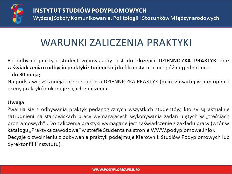 INSTYTUT STUDIÓW PODYPLOMOWYCH Wyższej Szkoły Komunikowania, Politologii i Stosunków Międzynarodowych WARUNKI ZALICZENIA PRAKTYKI Po odbyciu praktyki student zobowiązany jest do złożenia DZIENNICZKA PRAKTYK oraz zaświadczenia o odbyciu praktyki studenckiej do filii instytutu, nie później jednak niż: - do 30 maja; Na podstawie złożonego przez studenta DZIENNICZKA PRAKTYK (m.in.