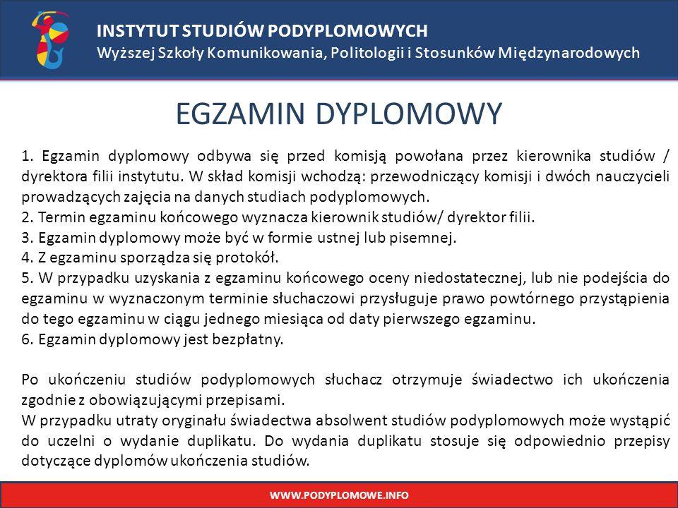 INSTYTUT STUDIÓW PODYPLOMOWYCH Wyższej Szkoły Komunikowania, Politologii i Stosunków Międzynarodowych EGZAMIN DYPLOMOWY 1.