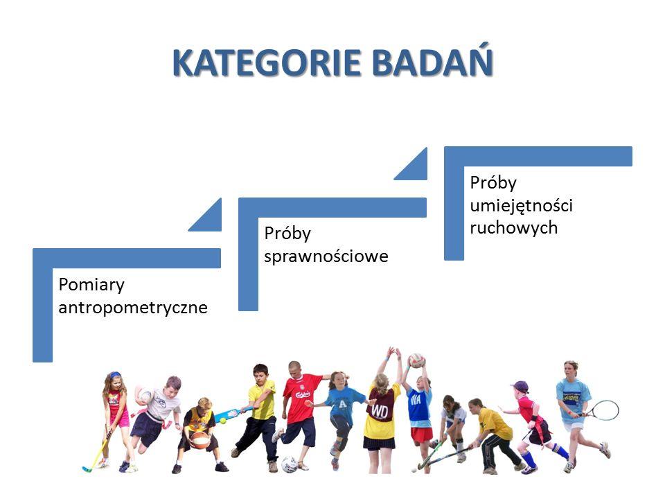 KATEGORIE BADAŃ Pomiary antropometryczne Próby sprawnościowe Próby umiejętności ruchowych