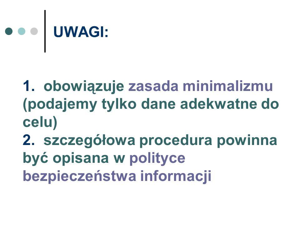 UWAGI: 1. obowiązuje zasada minimalizmu (podajemy tylko dane adekwatne do celu) 2. szczegółowa procedura powinna być opisana w polityce bezpieczeństwa