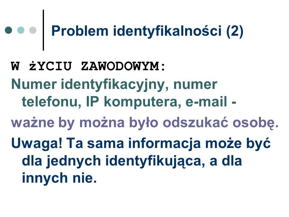 Problem identyfikalności (2) W żYCIU ZAWODOWYM: Numer identyfikacyjny, numer telefonu, IP komputera, e-mail - ważne by można było odszukać osobę. Uwag