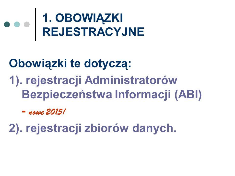 1. OBOWIĄZKI REJESTRACYJNE Obowiązki te dotyczą: 1). rejestracji Administratorów Bezpieczeństwa Informacji (ABI) - nowe 2015! 2). rejestracji zbiorów
