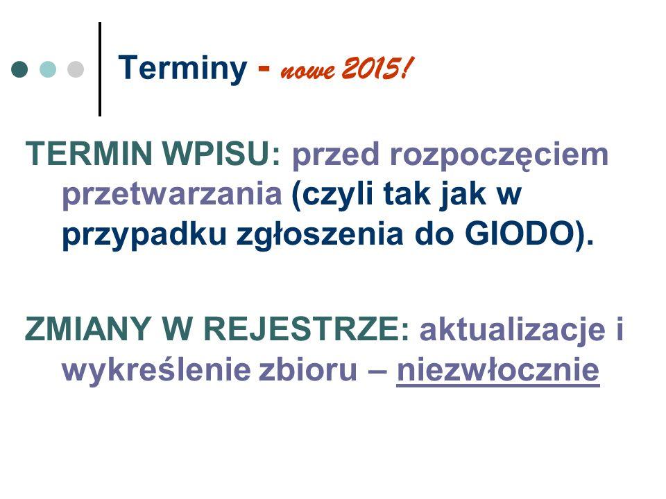 Terminy - nowe 2015! TERMIN WPISU: przed rozpoczęciem przetwarzania (czyli tak jak w przypadku zgłoszenia do GIODO). ZMIANY W REJESTRZE: aktualizacje