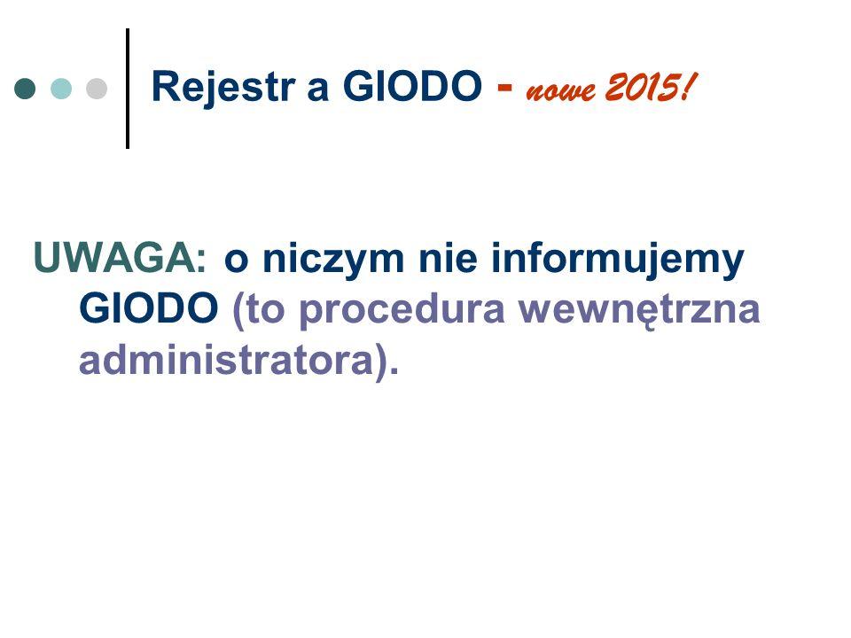Rejestr a GIODO - nowe 2015! UWAGA: o niczym nie informujemy GIODO (to procedura wewnętrzna administratora).