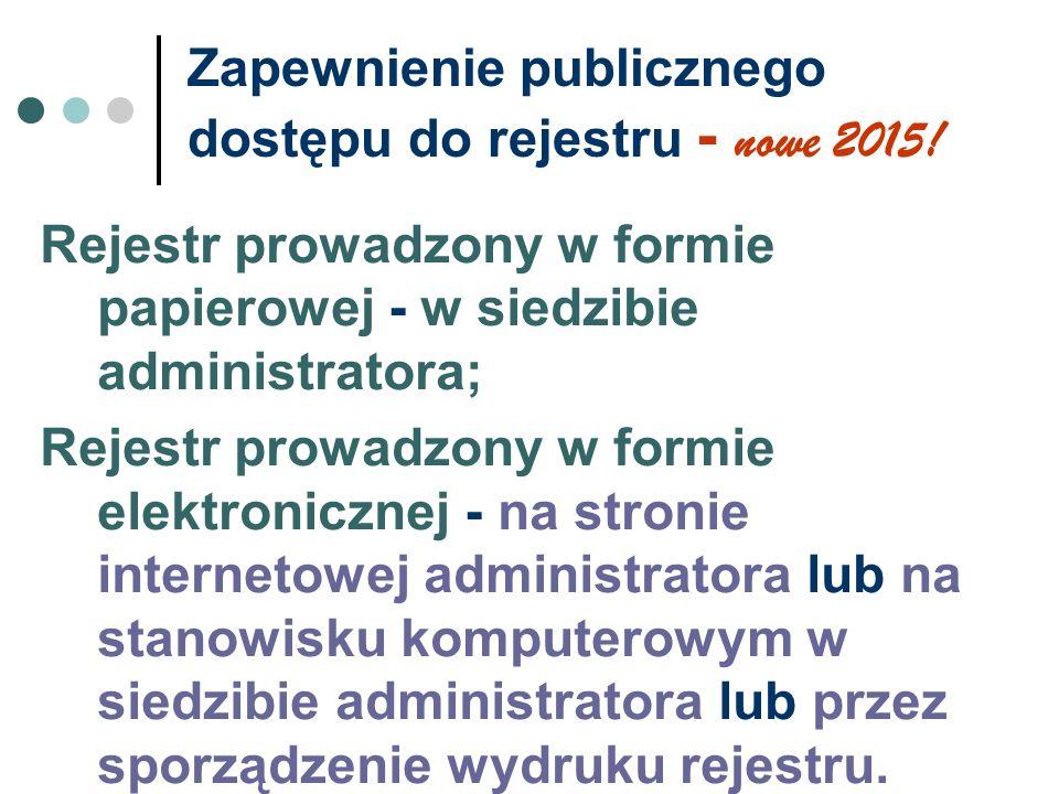 Zapewnienie publicznego dostępu do rejestru - nowe 2015! Rejestr prowadzony w formie papierowej - w siedzibie administratora; Rejestr prowadzony w for