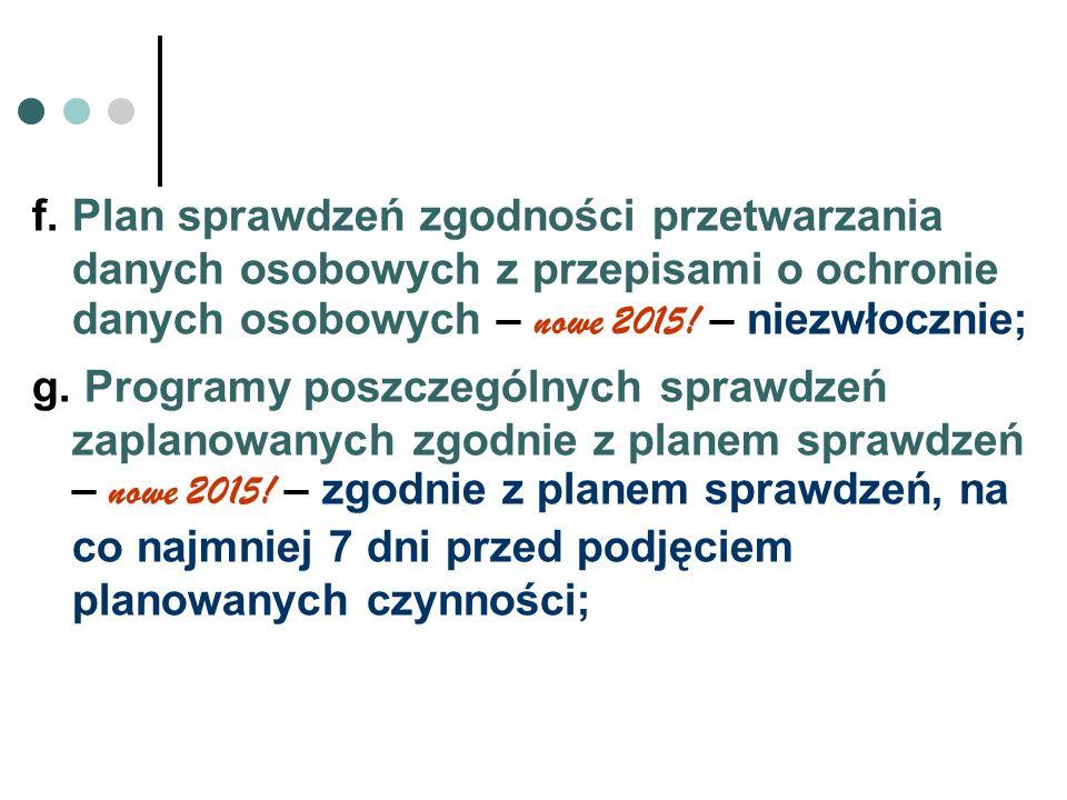f. Plan sprawdzeń zgodności przetwarzania danych osobowych z przepisami o ochronie danych osobowych – nowe 2015! – niezwłocznie; g. Programy poszczegó