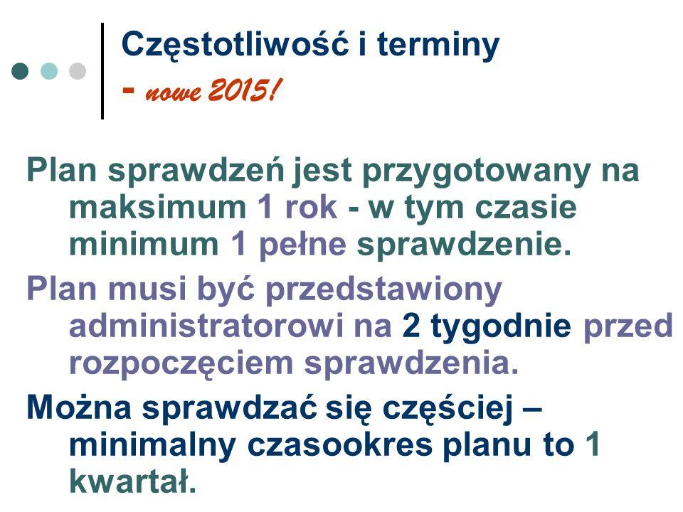 Częstotliwość i terminy - nowe 2015! Plan sprawdzeń jest przygotowany na maksimum 1 rok - w tym czasie minimum 1 pełne sprawdzenie. Plan musi być prze