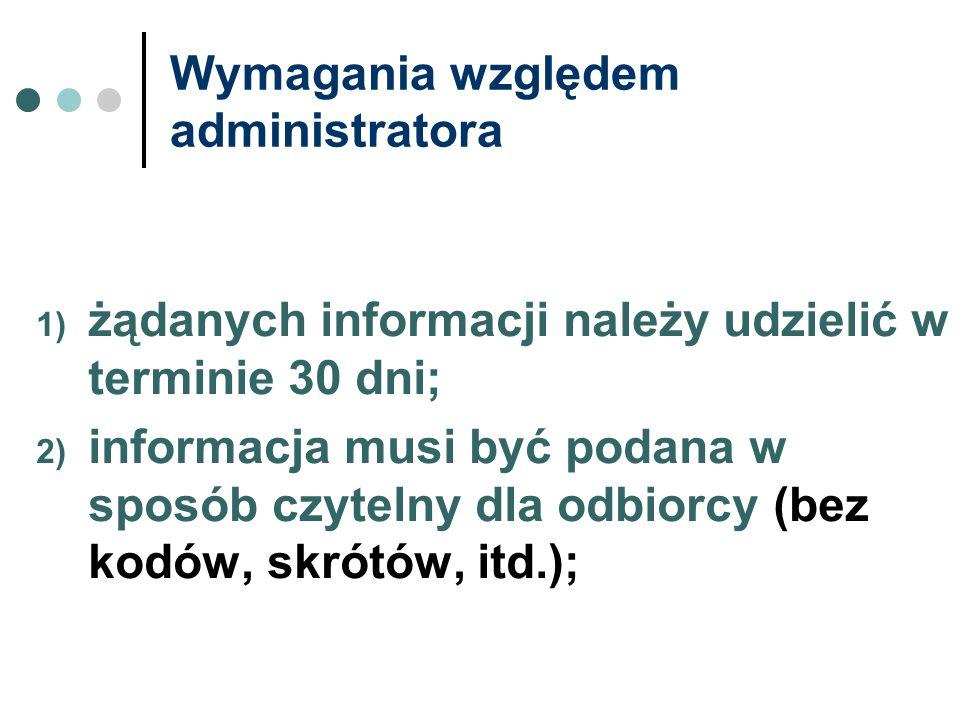 Wymagania względem administratora 1) żądanych informacji należy udzielić w terminie 30 dni; 2) informacja musi być podana w sposób czytelny dla odbior