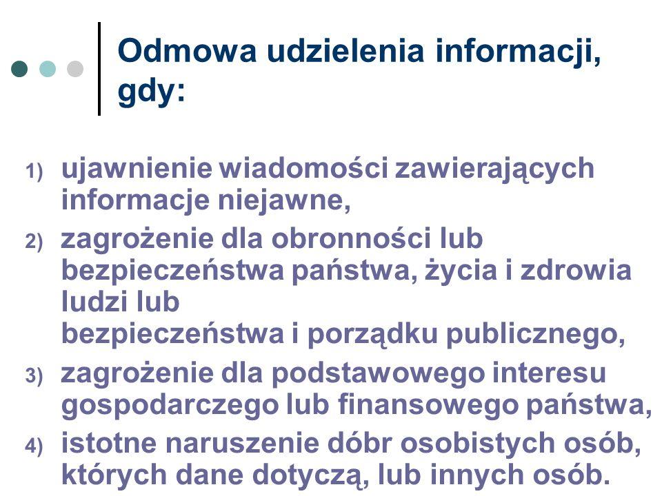 Odmowa udzielenia informacji, gdy: 1) ujawnienie wiadomości zawierających informacje niejawne, 2) zagrożenie dla obronności lub bezpieczeństwa państwa