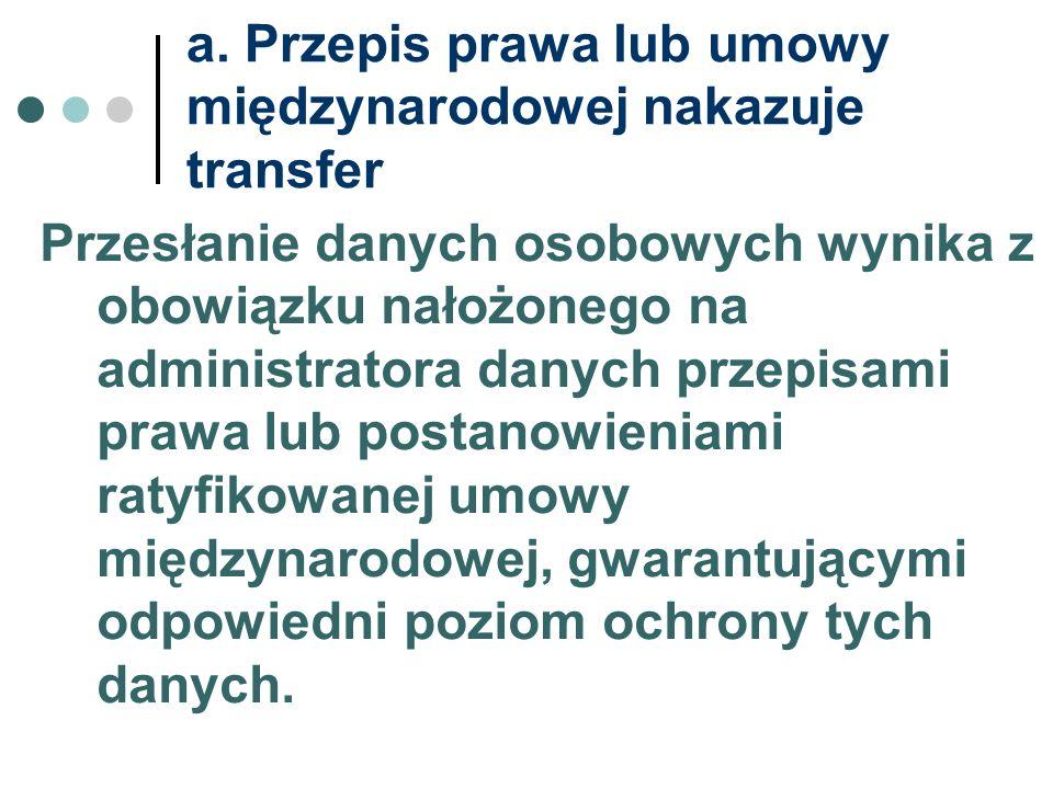 a. Przepis prawa lub umowy międzynarodowej nakazuje transfer Przesłanie danych osobowych wynika z obowiązku nałożonego na administratora danych przepi