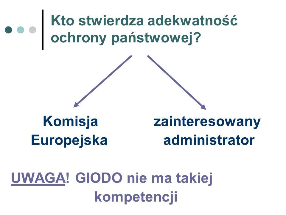 Kto stwierdza adekwatność ochrony państwowej? Komisja zainteresowany Europejska administrator UWAGA! GIODO nie ma takiej kompetencji