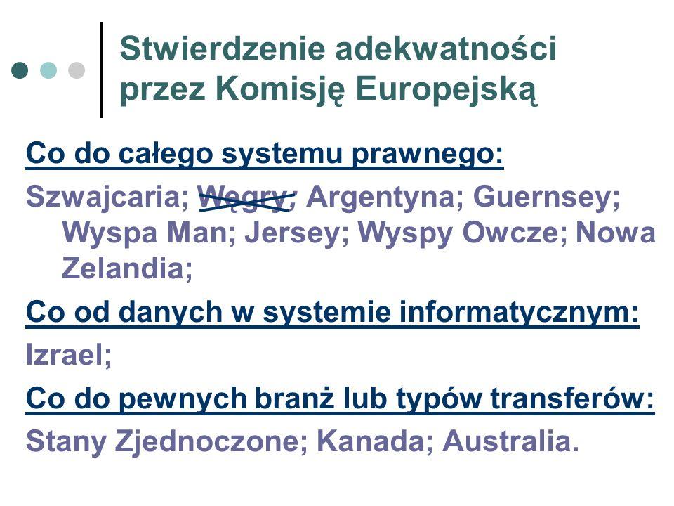 Stwierdzenie adekwatności przez Komisję Europejską Co do całego systemu prawnego: Szwajcaria; Węgry; Argentyna; Guernsey; Wyspa Man; Jersey; Wyspy Owc