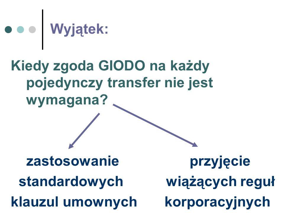 Wyjątek: Kiedy zgoda GIODO na każdy pojedynczy transfer nie jest wymagana? zastosowanie przyjęcie standardowych wiążących reguł klauzul umownych korpo
