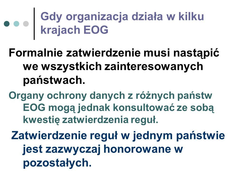 Gdy organizacja działa w kilku krajach EOG Formalnie zatwierdzenie musi nastąpić we wszystkich zainteresowanych państwach. Organy ochrony danych z róż