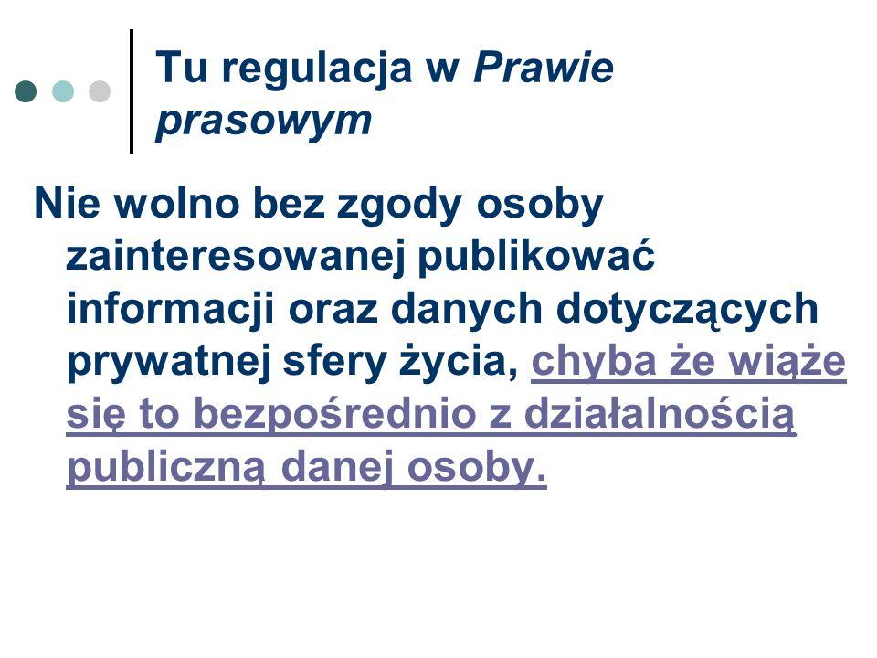 Tu regulacja w Prawie prasowym Nie wolno bez zgody osoby zainteresowanej publikować informacji oraz danych dotyczących prywatnej sfery życia, chyba że