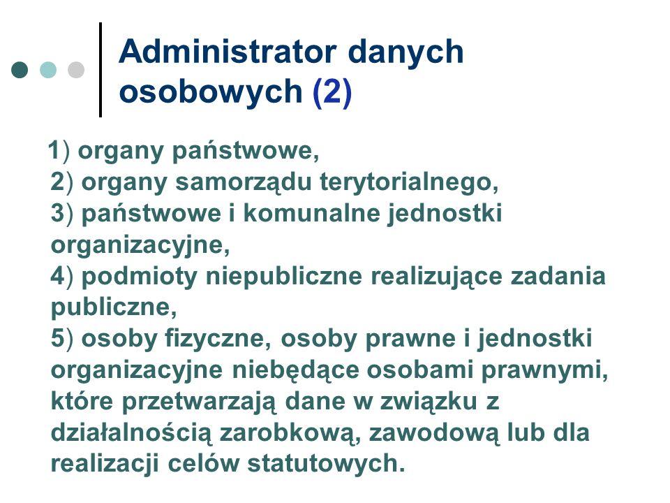 Administrator danych osobowych (2) 1) organy państwowe, 2) organy samorządu terytorialnego, 3) państwowe i komunalne jednostki organizacyjne, 4) podmi
