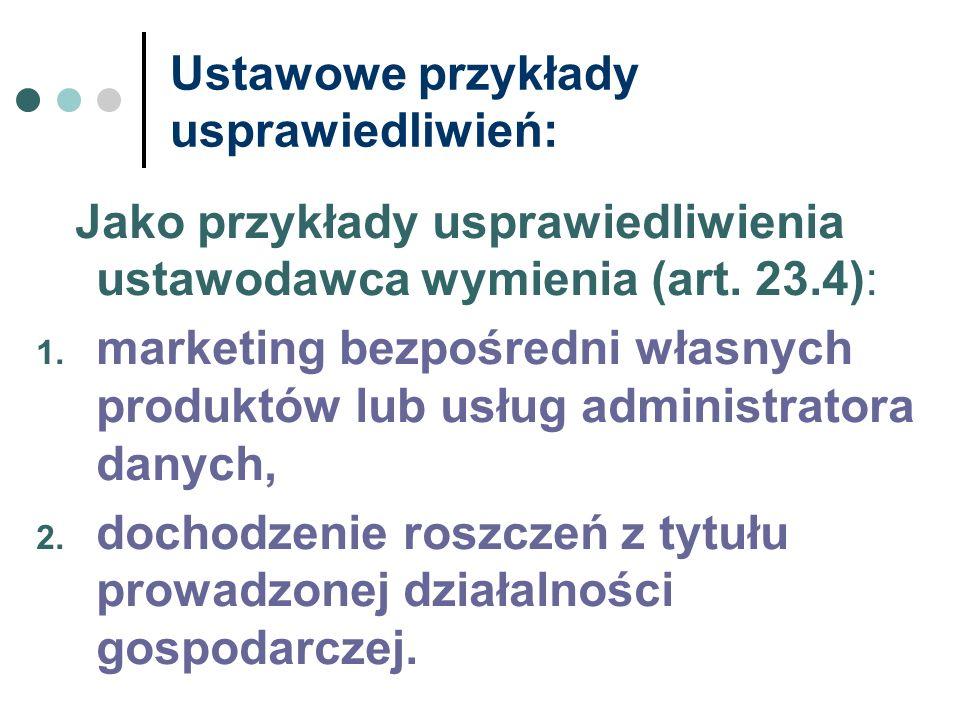 Ustawowe przykłady usprawiedliwień: Jako przykłady usprawiedliwienia ustawodawca wymienia (art. 23.4): 1. marketing bezpośredni własnych produktów lub