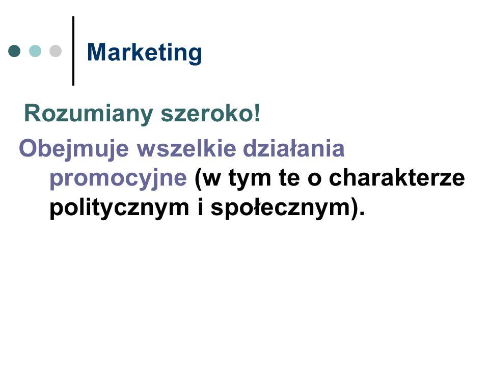 Marketing Rozumiany szeroko! Obejmuje wszelkie działania promocyjne (w tym te o charakterze politycznym i społecznym).