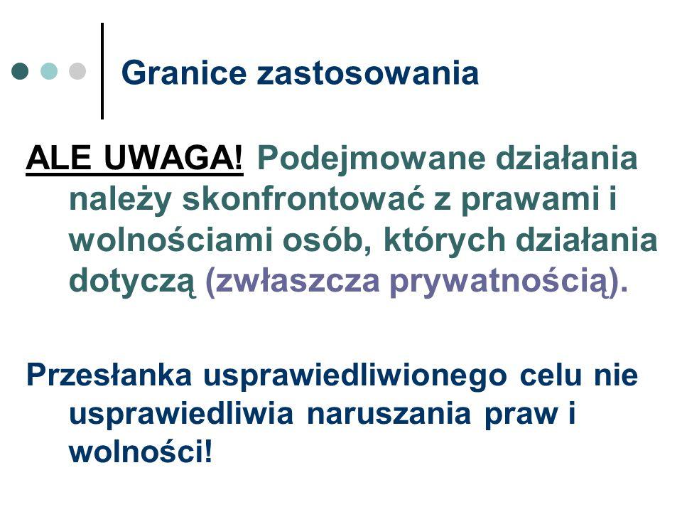 Granice zastosowania ALE UWAGA! Podejmowane działania należy skonfrontować z prawami i wolnościami osób, których działania dotyczą (zwłaszcza prywatno