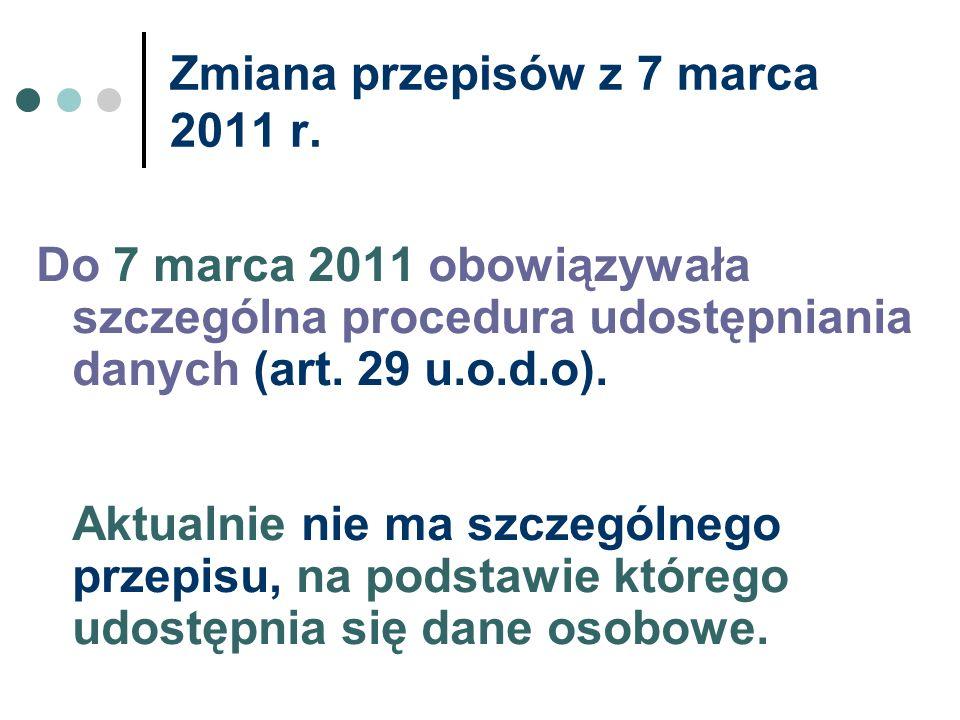 Zmiana przepisów z 7 marca 2011 r. Do 7 marca 2011 obowiązywała szczególna procedura udostępniania danych (art. 29 u.o.d.o). Aktualnie nie ma szczegól