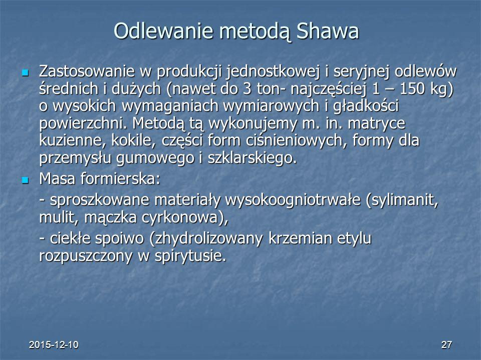 2015-12-1027 Odlewanie metodą Shawa Zastosowanie w produkcji jednostkowej i seryjnej odlewów średnich i dużych (nawet do 3 ton- najczęściej 1 – 150 kg