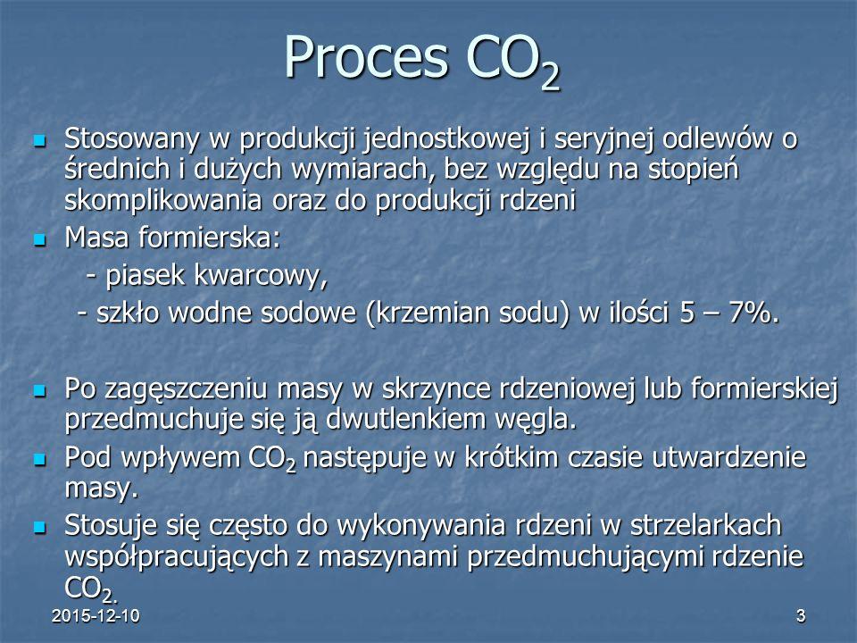 2015-12-103 Proces CO 2 Stosowany w produkcji jednostkowej i seryjnej odlewów o średnich i dużych wymiarach, bez względu na stopień skomplikowania ora