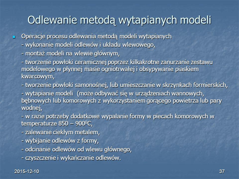 2015-12-1037 Odlewanie metodą wytapianych modeli Operacje procesu odlewania metodą modeli wytapianych Operacje procesu odlewania metodą modeli wytapia