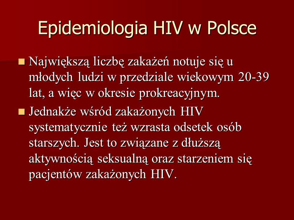 Epidemiologia HIV w Polsce Największą liczbę zakażeń notuje się u młodych ludzi w przedziale wiekowym 20-39 lat, a więc w okresie prokreacyjnym. Najwi