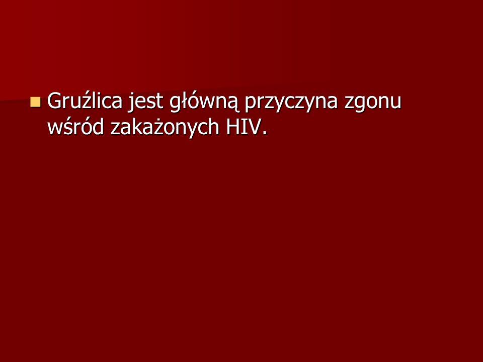 Gruźlica jest główną przyczyna zgonu wśród zakażonych HIV. Gruźlica jest główną przyczyna zgonu wśród zakażonych HIV.