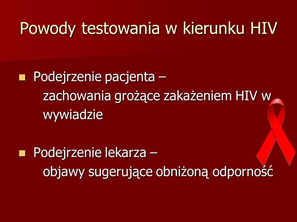 Powody testowania w kierunku HIV Podejrzenie pacjenta – Podejrzenie pacjenta – zachowania grożące zakażeniem HIV w zachowania grożące zakażeniem HIV w wywiadzie wywiadzie Podejrzenie lekarza – Podejrzenie lekarza – objawy sugerujące obniżoną odporność objawy sugerujące obniżoną odporność