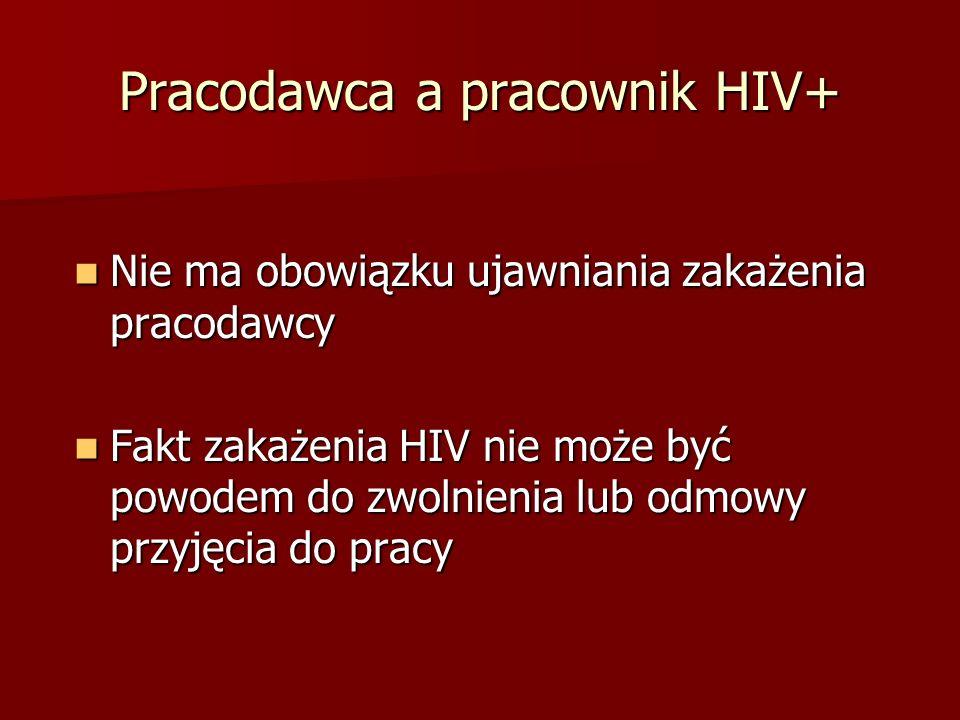 Pracodawca a pracownik HIV+ Nie ma obowiązku ujawniania zakażenia pracodawcy Nie ma obowiązku ujawniania zakażenia pracodawcy Fakt zakażenia HIV nie może być powodem do zwolnienia lub odmowy przyjęcia do pracy Fakt zakażenia HIV nie może być powodem do zwolnienia lub odmowy przyjęcia do pracy