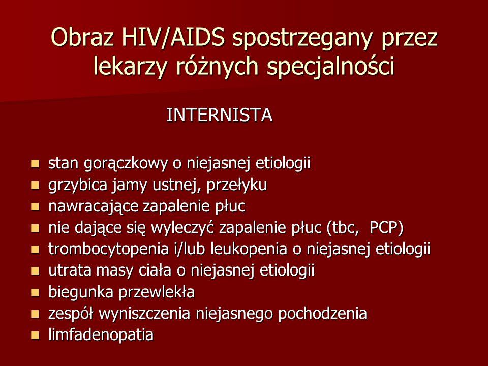 Obraz HIV/AIDS spostrzegany przez lekarzy różnych specjalności INTERNISTA INTERNISTA stan gorączkowy o niejasnej etiologii stan gorączkowy o niejasnej etiologii grzybica jamy ustnej, przełyku grzybica jamy ustnej, przełyku nawracające zapalenie płuc nawracające zapalenie płuc nie dające się wyleczyć zapalenie płuc (tbc, PCP) nie dające się wyleczyć zapalenie płuc (tbc, PCP) trombocytopenia i/lub leukopenia o niejasnej etiologii trombocytopenia i/lub leukopenia o niejasnej etiologii utrata masy ciała o niejasnej etiologii utrata masy ciała o niejasnej etiologii biegunka przewlekła biegunka przewlekła zespół wyniszczenia niejasnego pochodzenia zespół wyniszczenia niejasnego pochodzenia limfadenopatia limfadenopatia