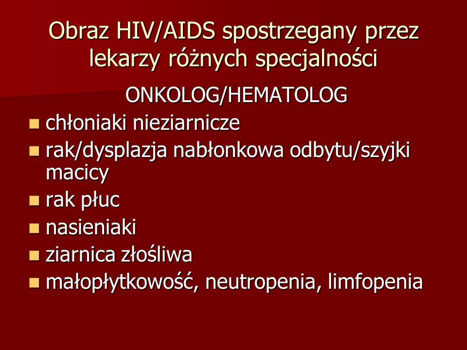 Obraz HIV/AIDS spostrzegany przez lekarzy różnych specjalności ONKOLOG/HEMATOLOG ONKOLOG/HEMATOLOG chłoniaki nieziarnicze chłoniaki nieziarnicze rak/dysplazja nabłonkowa odbytu/szyjki macicy rak/dysplazja nabłonkowa odbytu/szyjki macicy rak płuc rak płuc nasieniaki nasieniaki ziarnica złośliwa ziarnica złośliwa małopłytkowość, neutropenia, limfopenia małopłytkowość, neutropenia, limfopenia