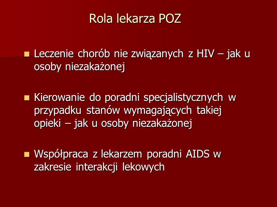 Rola lekarza POZ Leczenie chorób nie związanych z HIV – jak u osoby niezakażonej Leczenie chorób nie związanych z HIV – jak u osoby niezakażonej Kierowanie do poradni specjalistycznych w przypadku stanów wymagających takiej opieki – jak u osoby niezakażonej Kierowanie do poradni specjalistycznych w przypadku stanów wymagających takiej opieki – jak u osoby niezakażonej Współpraca z lekarzem poradni AIDS w zakresie interakcji lekowych Współpraca z lekarzem poradni AIDS w zakresie interakcji lekowych