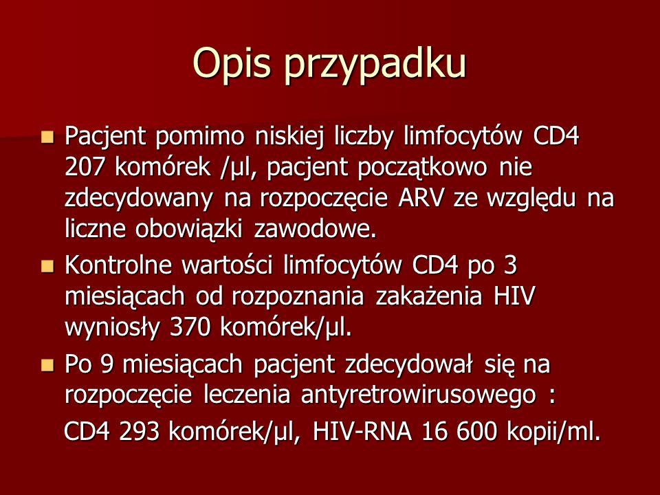 Opis przypadku Pacjent pomimo niskiej liczby limfocytów CD4 207 komórek /µl, pacjent początkowo nie zdecydowany na rozpoczęcie ARV ze względu na liczn