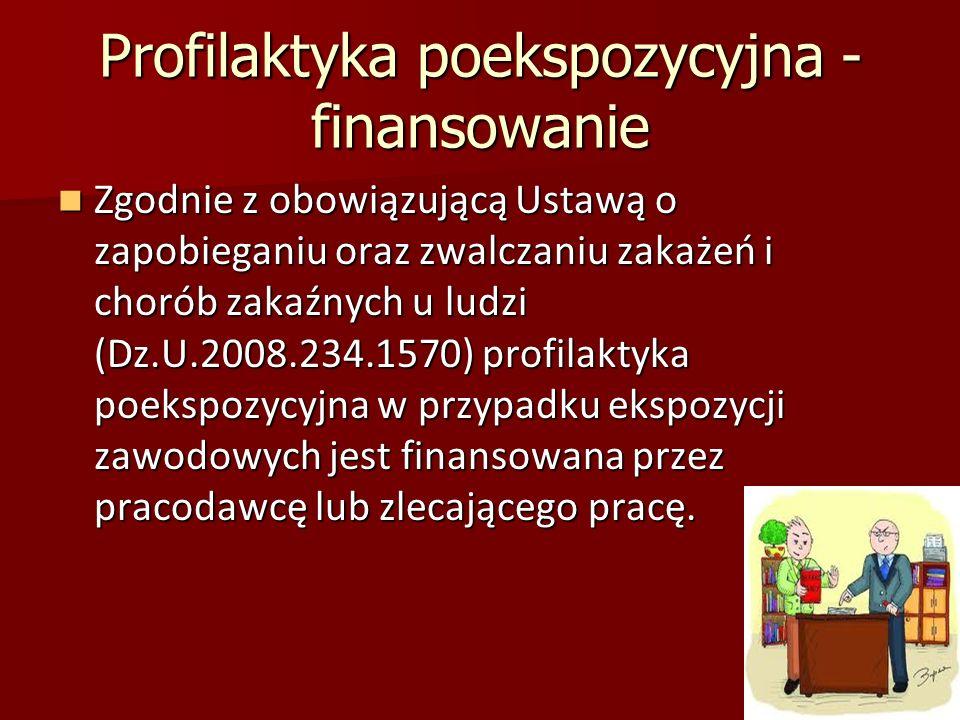 Profilaktyka poekspozycyjna - finansowanie Zgodnie z obowiązującą Ustawą o zapobieganiu oraz zwalczaniu zakażeń i chorób zakaźnych u ludzi (Dz.U.2008.234.1570) profilaktyka poekspozycyjna w przypadku ekspozycji zawodowych jest finansowana przez pracodawcę lub zlecającego pracę.