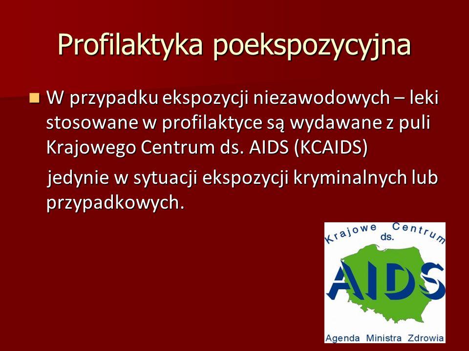 Profilaktyka poekspozycyjna W przypadku ekspozycji niezawodowych – leki stosowane w profilaktyce są wydawane z puli Krajowego Centrum ds. AIDS (KCAIDS