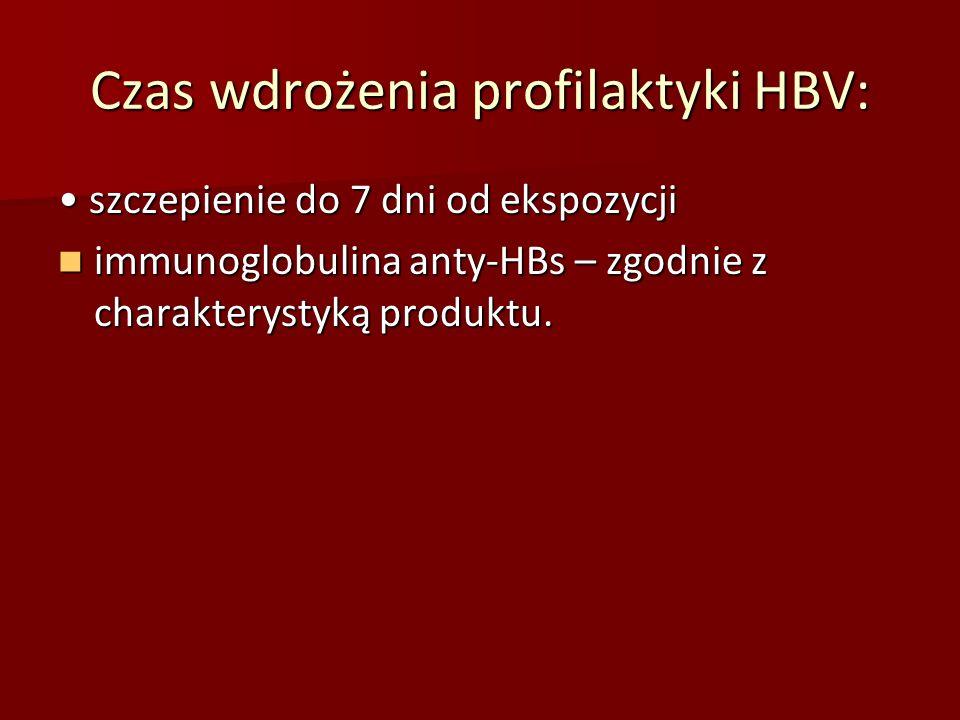 Czas wdrożenia profilaktyki HBV: szczepienie do 7 dni od ekspozycji szczepienie do 7 dni od ekspozycji immunoglobulina anty‐HBs – zgodnie z charaktery