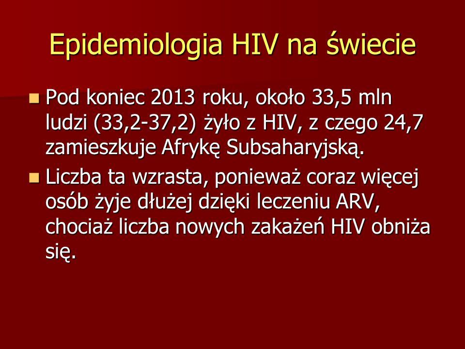 Epidemiologia HIV na świecie Pod koniec 2013 roku, około 33,5 mln ludzi (33,2-37,2) żyło z HIV, z czego 24,7 zamieszkuje Afrykę Subsaharyjską. Pod kon