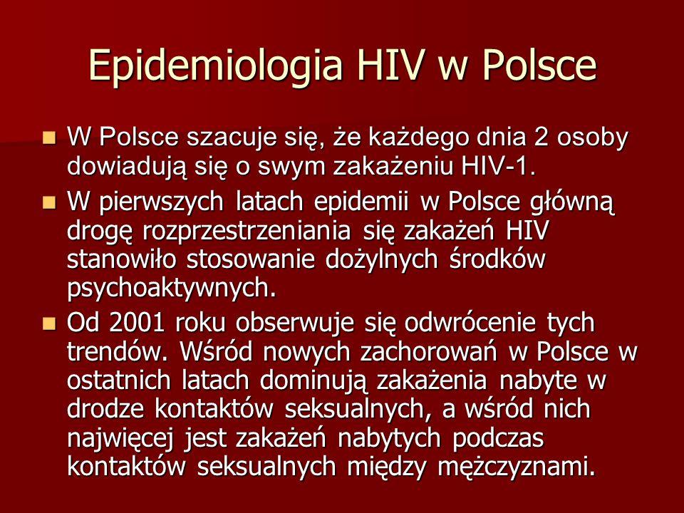 Epidemiologia HIV w Polsce W Polsce szacuje się, że każdego dnia 2 osoby dowiadują się o swym zakażeniu HIV-1. W Polsce szacuje się, że każdego dnia 2