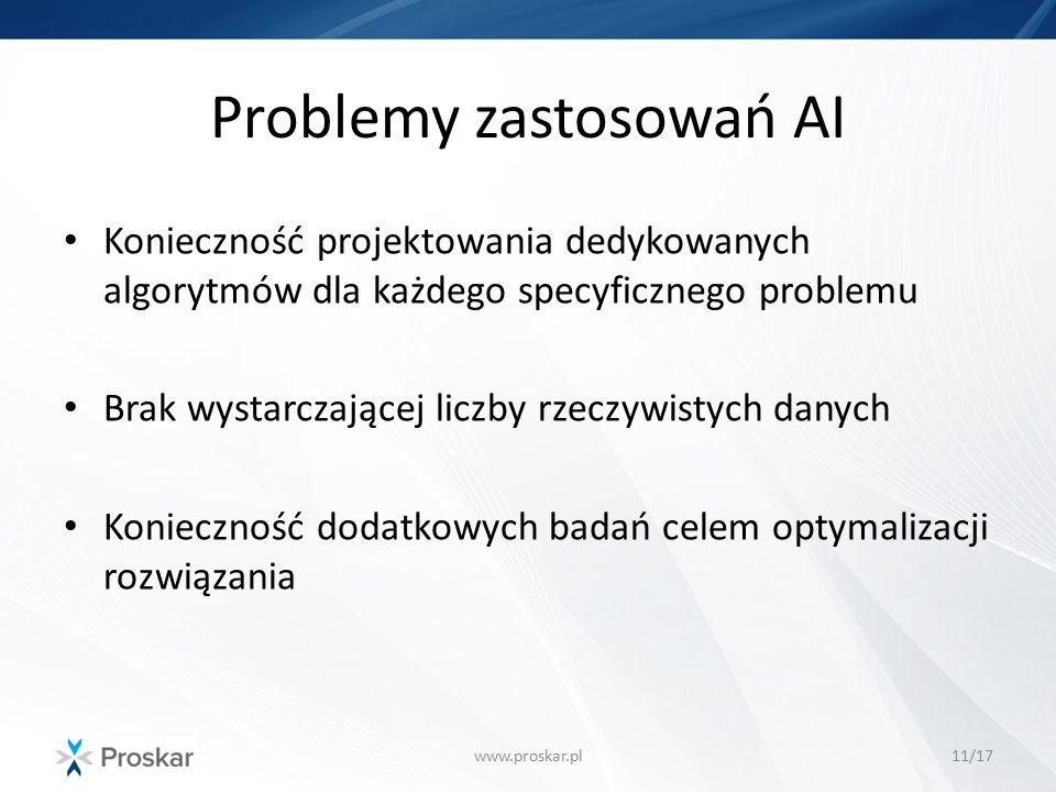 Problemy zastosowań AI www.proskar.pl11/17 Konieczność projektowania dedykowanych algorytmów dla każdego specyficznego problemu Brak wystarczającej li