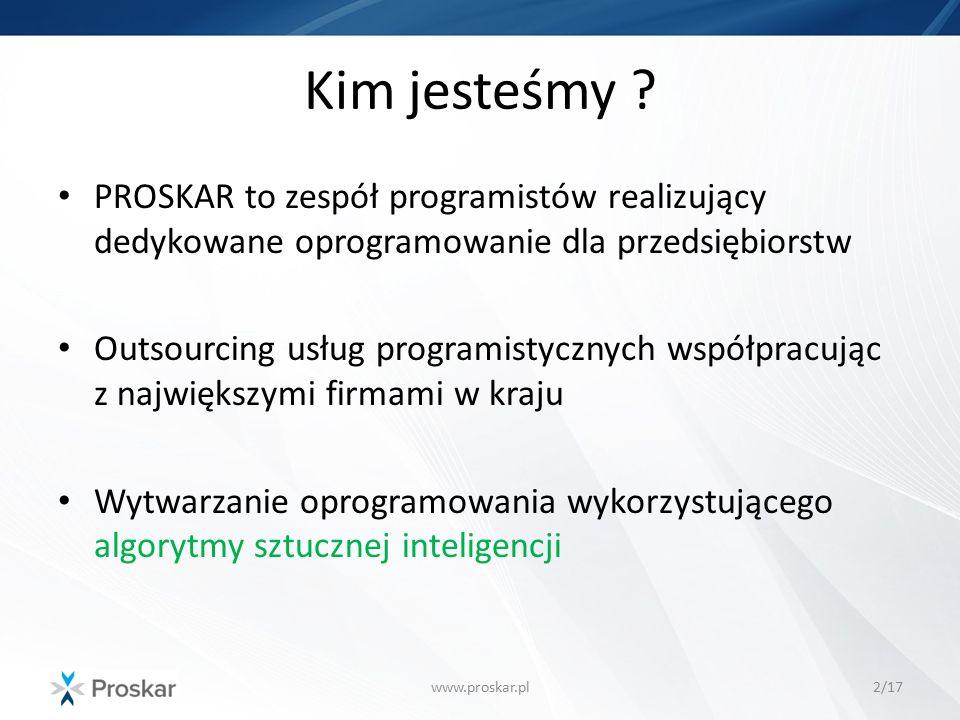 Przykład zastosowania AI www.proskar.pl13/17 Liczba możliwych wszystkich tras zależna jest od liczby miast Liczba tras wynosi (n-1)!/2 Dla 50 miast – ok.
