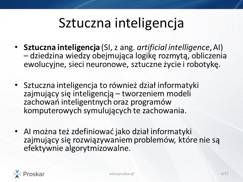 Algorytmy inspirowane naturą www.proskar.pl5/17 Sztuczne systemy immunologiczne Zastosowania: systemy wykrywania włamań do sieci komputerowych, rozpoznawanie obrazów, optymalizacja, prognozowanie Algorytmy mrówkowe Zastosowania: poszukiwanie najkrótszej drogi Algorytmy genetyczne Zastosowania: optymalizacja kombinatoryczna i funkcji wielu zmiennych
